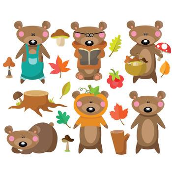 Autumn Bear - Clipart & Vector Set - Instant Download