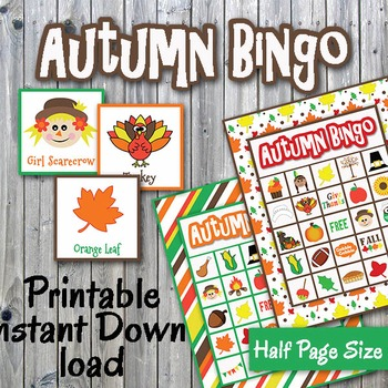 Autumn Bingo Cards and Memory Game-Printable-Up to 30 play