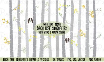 Autumn Birch Tree Silhouettes Clipart Clip Art - Commercia