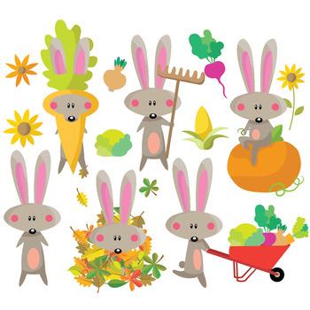 Autumn Bunny - Clipart Set
