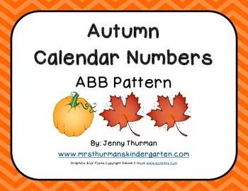 Autumn Calendar Numbers ABB Pattern