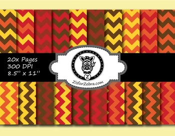 Autumn Chevron Paper Pattern Pack 1 - 20 pages - Commercial OK