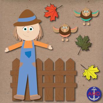 Autumn Clip Art- Scarecrow, Leaves, Pumpkins, Squirrel, Ac