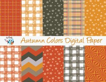 Autumn Colors Digital Paper Pack in Landscape and Portrait Sizes