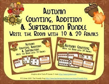 Autumn Count, Add & Subtract Bundle with 10 & 20 Frames {S