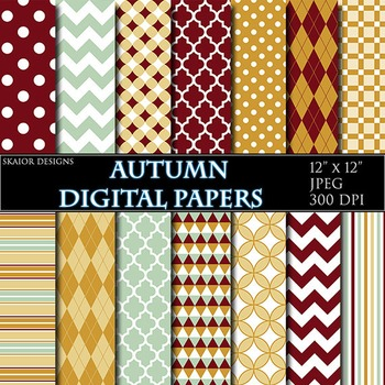 Autumn Digital Papers Red Yellow Green Geometric Backgroun