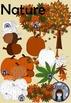 Fall Clip Art set for Autumn - pumpkin, leaves, coffee