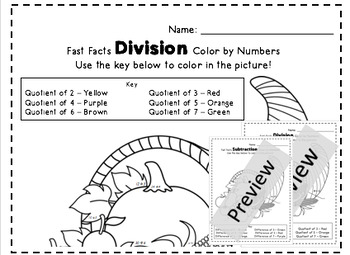 Thanksgiving Cornucopia Division and Subtraction Color by Numbers