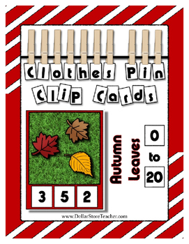Autumn Fall Leaves Clothes Pin Clip Cards Counting to 20 ~