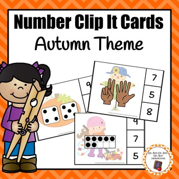 Autumn/Fall Numbers (0-20) Clip It Cards