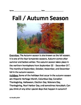 Autumn Fall Season - Review Article Questions Vocabulary W