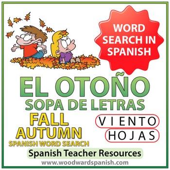 Autumn Fall Spanish Word Search - El Otoño - Sopa de Letras