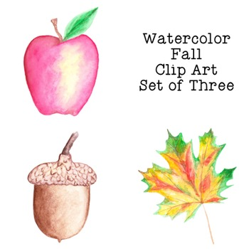 Autumn Fall Watercolor Clip Art PNG JPG Commercial or Pers