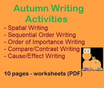 Autumn / Fall Writing - 5 front/back worksheets - Charts &