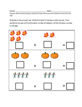 Autumn Fall themed addition; combining sets with visuals;