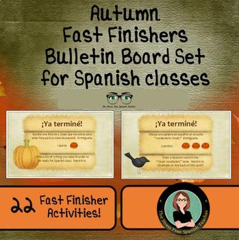 Autumn Fast Finishers Bulletin Board Set - Spanish Class!
