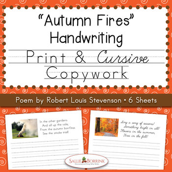 Autumn Fires Copywork and Handwriting - Poem by Robert Lou
