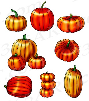 Autumn Halloween 8 Pumpkins Clipart and Scrapbooking Graphic Set