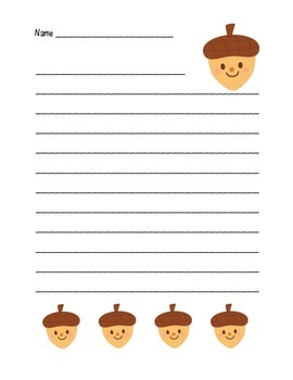"""Autumn Happy Acorn"" Writing Sheets  (color)"