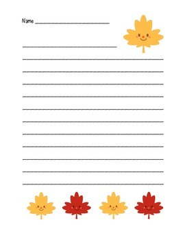 """""""Autumn Happy Leaf 3"""" Writing Sheets (color)"""