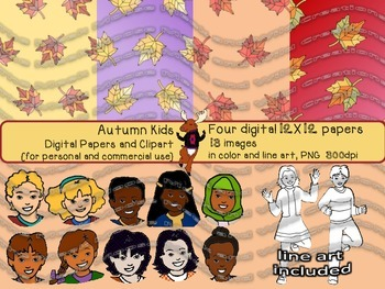 Autumn Kids Digital Papers and Clipart {for personal and c