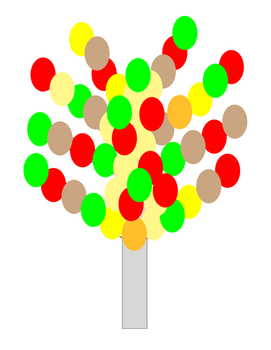Autumn Kindergarten Art Project Tree Red Yellow Beige Brow