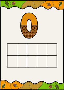 Autumn Leaves 10 Frames Cards for Pre-k and Kindergarten