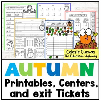 Autumn Math Worksheets and 10 Centers