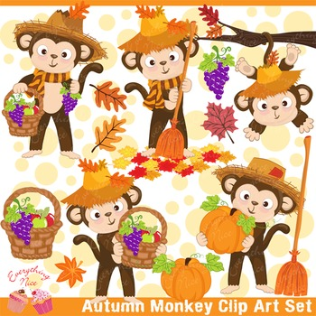 Autumn Fall Monkey Clipart Set