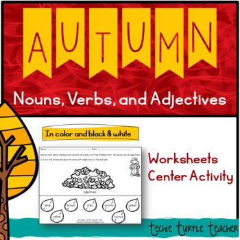 Autumn Nouns, Adjectives, & Verbs - Worksheets and Center