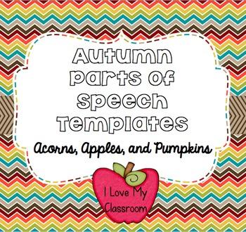 Autumn Parts of Speech Templates {Acorn, Apple, and Pumpkins}