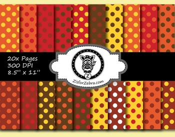 Autumn Polka Dots Paper Pattern Pack 1 - 20 pages - Commercial OK