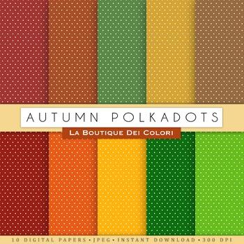 Autumn Polkadots Digital Paper, scrapbook backgrounds.