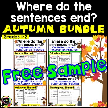 FREEBIE!!  Autumn Punctuation and Capitalization; Where do