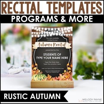 Autumn Recital Kit {EDITABLE}: Invitations, Program Templa
