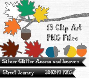Autumn Silver Glitter Acorn Leaf and Branch Clip Art Colle