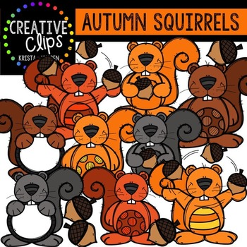 Autumn Squirrels {Creative Clips Digital Clipart}