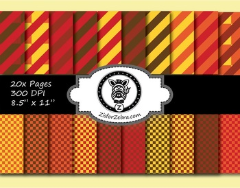 Autumn Stripes & Checkers Paper Pattern Pack 1 - 20 pages