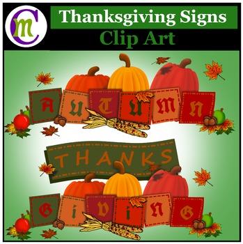 Autumn Clip Art ♦ Autumn & Thanksgiving Signs