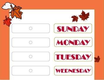 Autumn Theme Weekday Chart! Autumn Days of the Week! Autum