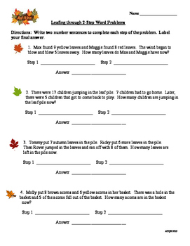Autumn  Themed 2 Step Word Problems for Second Grade Ready