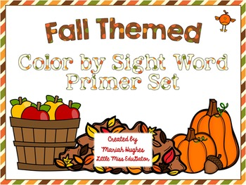 Autumn Themed Color By Sight Word Freebie- Primer Words