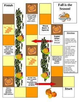 Autumn Themed Trivia Game Board