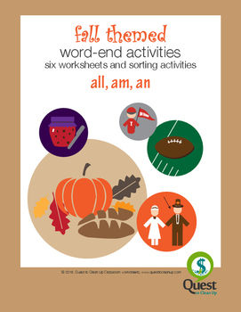 Autumn Themed Word endings Am, An, All Worksheets