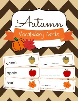 Autumn Vocabulary Cards and Spelling Practice