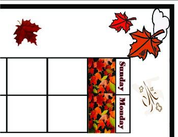 Autumn Calendar. Autumn Bulletin Board! Autumn Theme! Fall