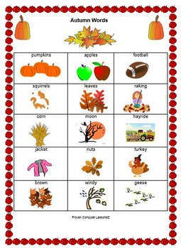 Autumn Words List - Alphabetizing
