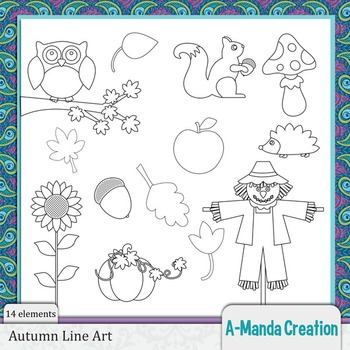 Autumn and Fall Line Art and Digital Stamps