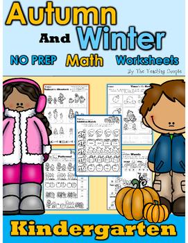 Autumn and Winter NO PREP Kindergarten Math Pack!