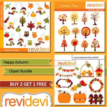 Autumn clip art / Fall clipart bundle / tree, birds, kids